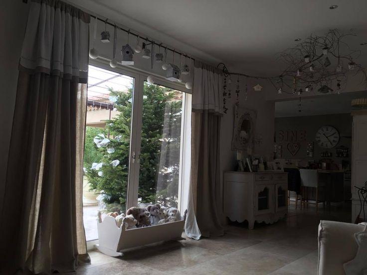 Rideau romantique shabby chic lin et drap ancien monogramme lettre brodé rideau salon salle à manger
