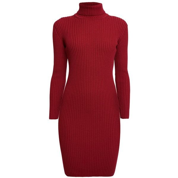 Rumour London - CLAUDIA Red Ribbed Turtleneck Dress found on Polyvore featuring dresses, red day dress, turtleneck tops, slimming dresses, stretchy dresses and turtle neck dress