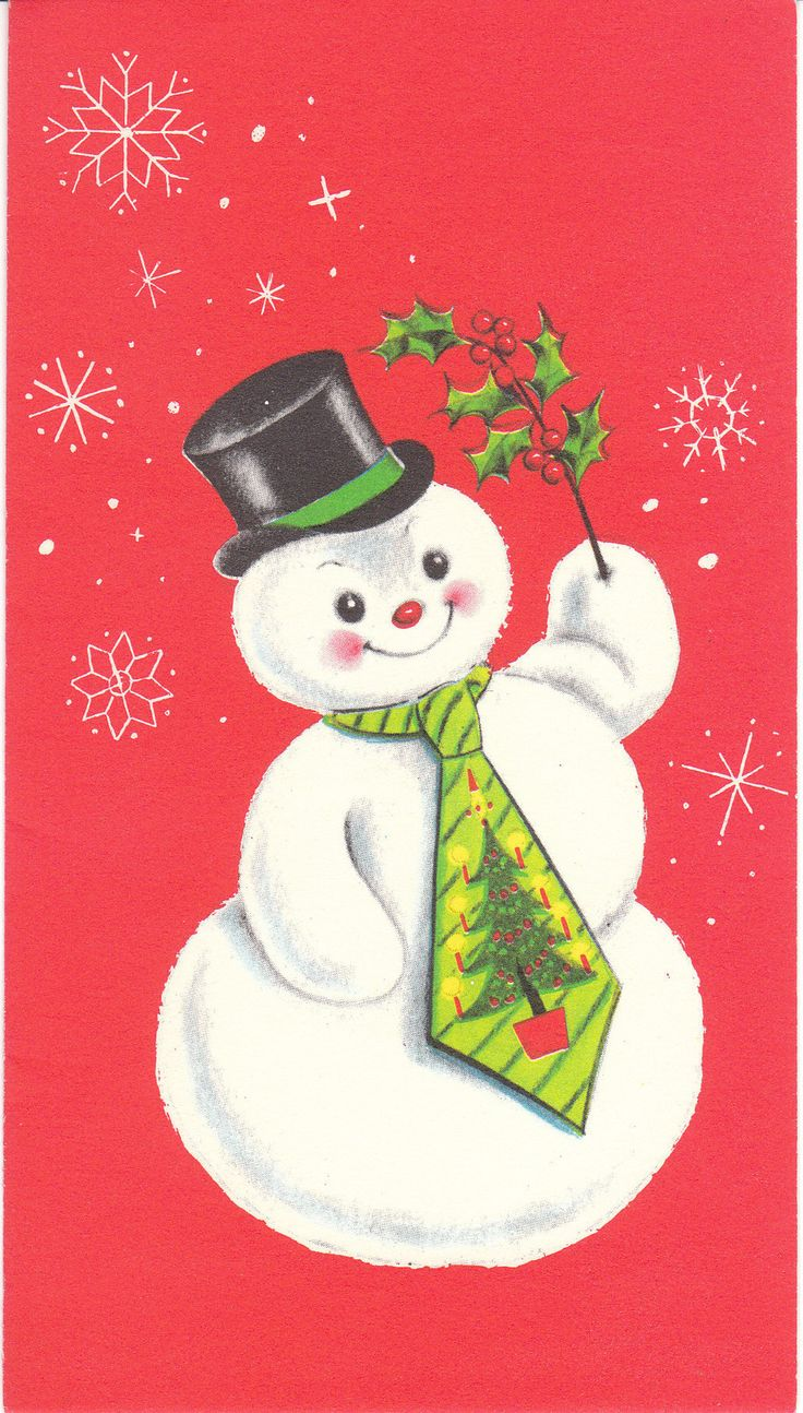 Vintage Christmas Card Snowman Wearing A Tree Tie