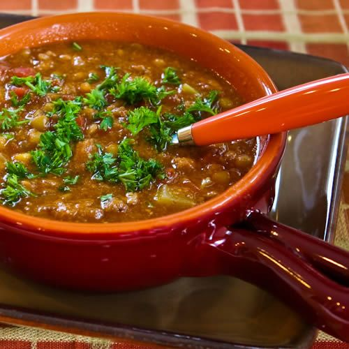 Recipe for Spicy Sausage, Lentil, and Tomato Soup; this easy soup recipe uses hot turkey Italian Sausage, one of my favorite ingredients!  [from Kalyn's Kitchen] #LowGlycemicRecipe