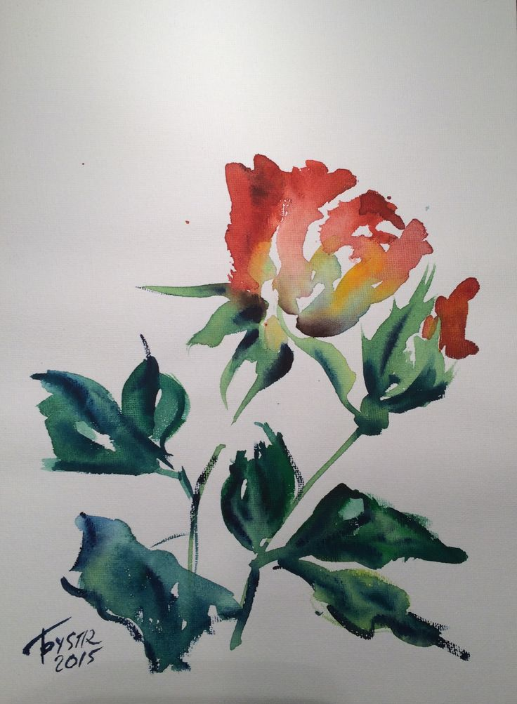 $90 ROSE. no.3. Watercolor on a canvas 29X21 cm Original unframed watercolor painting on a high quality canvas. Hand painted and signed by the artist Elvira Lazareva (Bystrova). Please note that colors may slightly vary depending on your monitor settings. This painting will be packed with care preventing it from any damage.