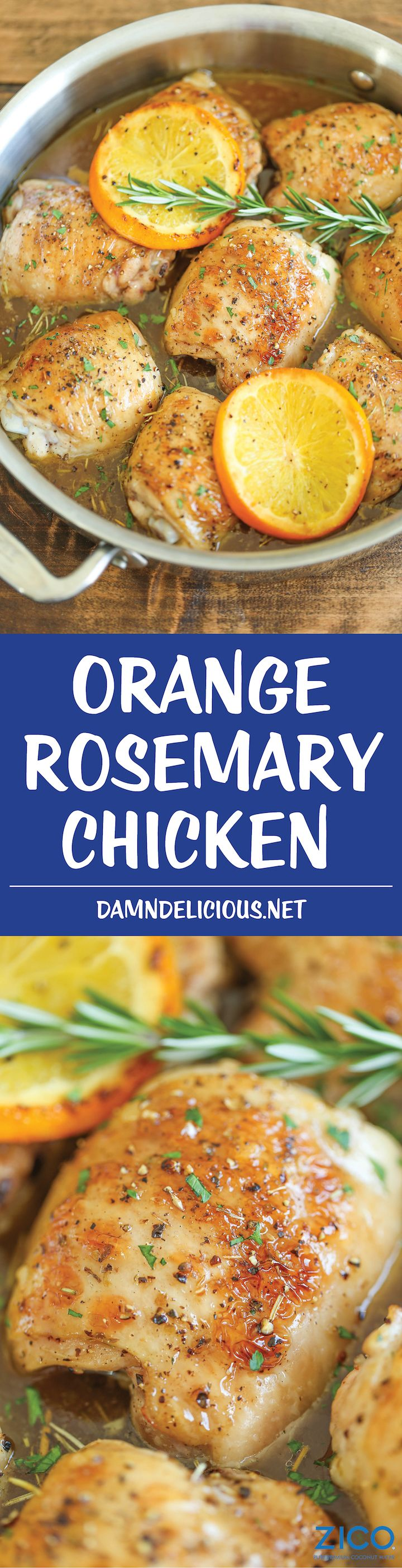 Orange Rosemary Chicken - Crisp-tender chicken, roasted in the most epic, melt-in-your-mouth orange rosemary glaze that you'll want to drink!