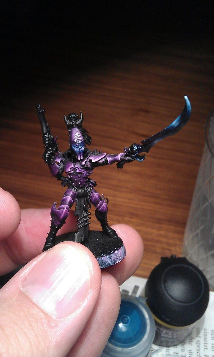 Helping the bf with Dark Eldar color ideas. I think purple and blue would be perfect!