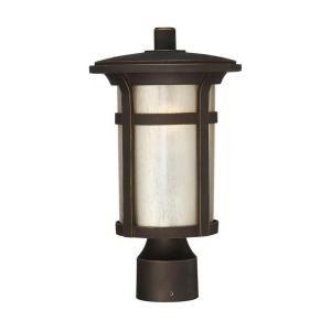 Round Craftsman Post-Mount 1-Light Outdoor Dark Rubbed Bronze Lantern-23036 at The Home Depot