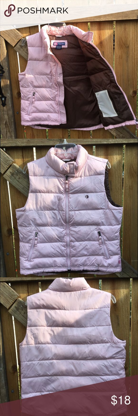 Light Pink Vest Stay cute in the cold! Pretty pale pink with warm brown interior. Four pockets--two inside and two outside! Zips up the front with a Velcro closure at the top. Good used condition. Color is most like first picture. Duck Head Jeans Co. Jackets & Coats Vests