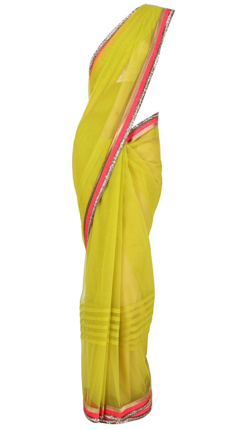 Olive green net pleated Sari with coral and gold striped border and golu's by MANISH MALHOTRA. Shop at https://www.perniaspopupshop.com/manish-malhotra/manish-malhotra-3423