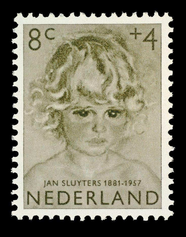 Postzegel Nederland 1957, Kinderpostzegel, Meisjesportret naar een schilderij van Jan Sluyters 1881 - 1957