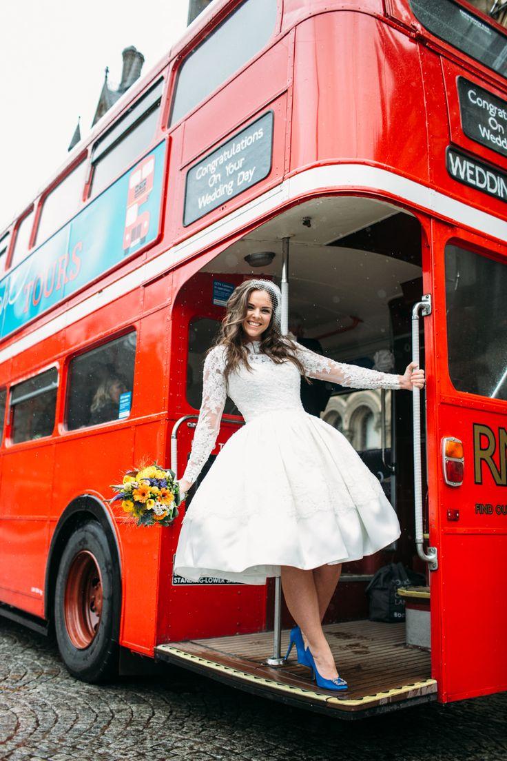 Short Ellis Bridal Gown | Rosylee Bar in Manchester | City Wedding | Navy Bridesmaid Dresses | Yellow Decor | DBS Creative | http://www.rockmywedding.co.uk/rachel-andy/