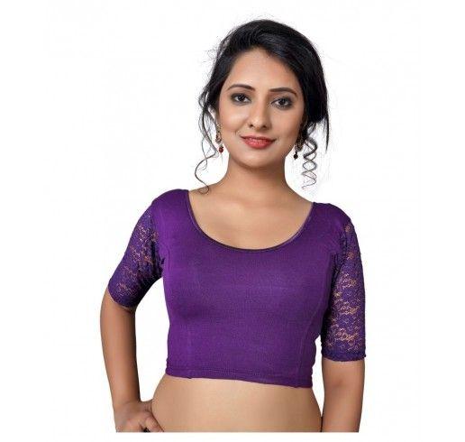 38ac7af85ddc2 Net sleeves cotton lycra stretchable blouse crop top - brinjal ...