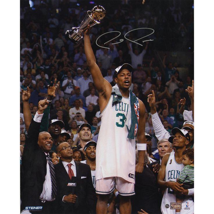 Paul Pierce Signed 16x20 Holding Up 2008 NBA Finals MVP Trophy