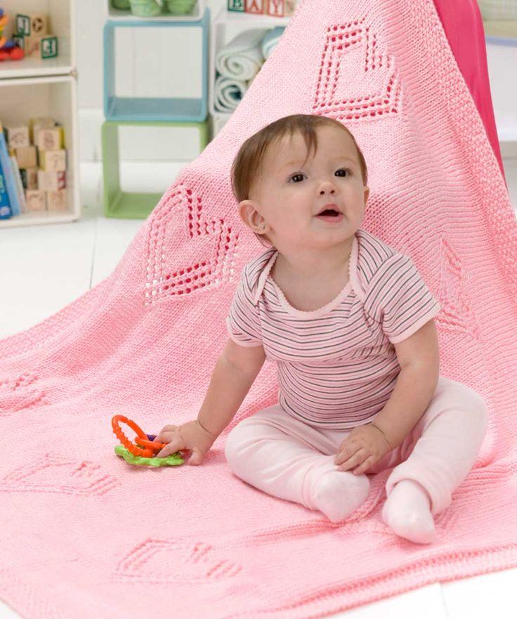 Sweet Hearts Baby Blanket Knitting Pattern   Red Heart
