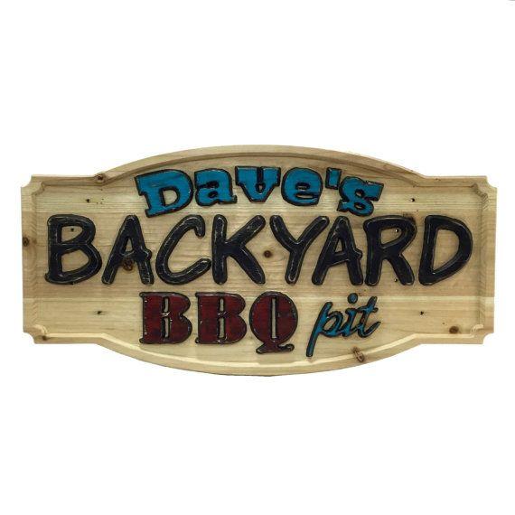 Backyard BBQ Pit Custom Carved Wood Sign