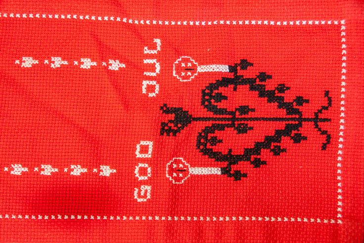 Vintage Norwegian Hand Embroidered God Jul Christmas Table Runner Hearts Norway