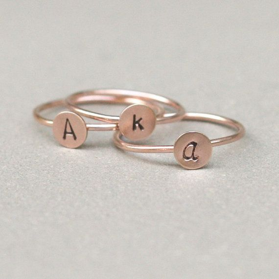 initial ring. ROSE gold monogram stacking by MeadowbelleMarket