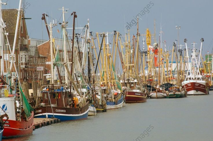 Fishing vessels moored at the pier, Cuxhaven, Lower Saxony, Germany.