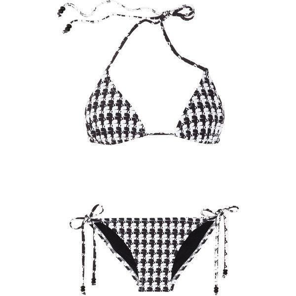 Karl Lagerfeld Karl-print triangle bikini (€77) ❤ liked on Polyvore featuring swimwear, bikinis, bikini, swimsuit, beachwear, swim, white, triangle bathing suits, halter swimsuit and swimsuits bikinis