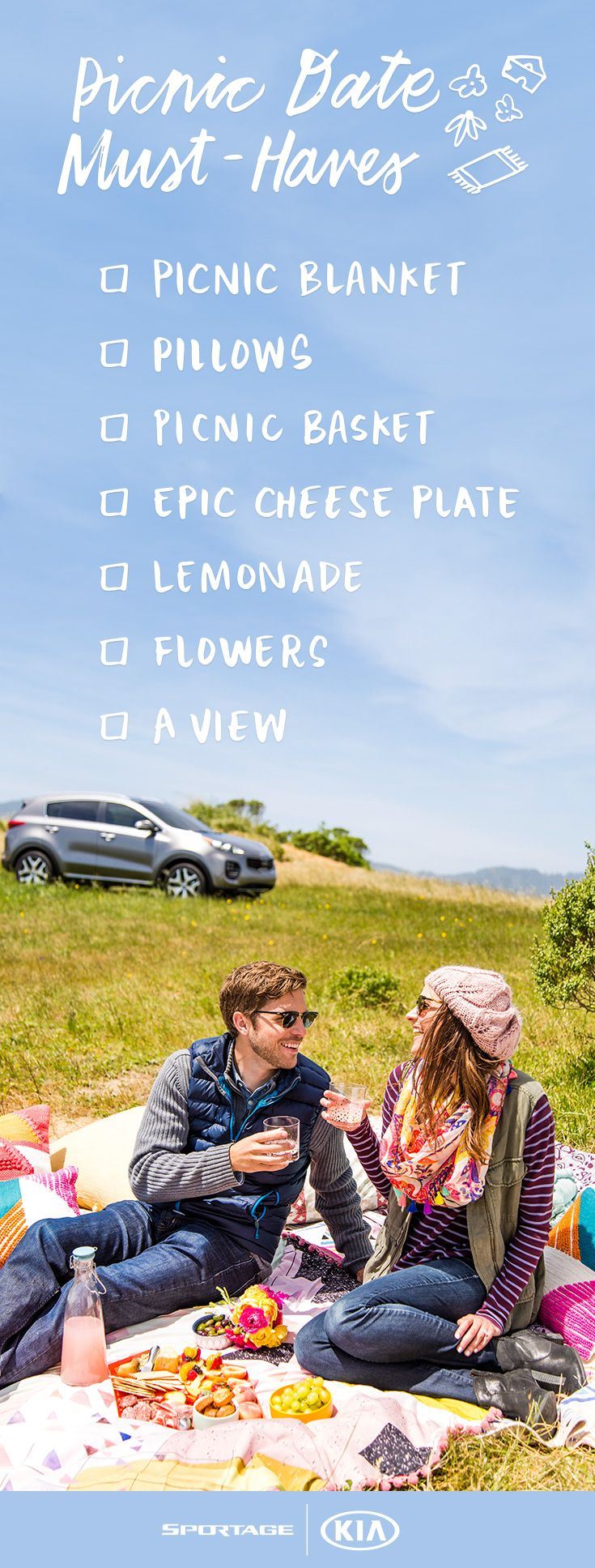 A picnic date is the perfect afternoon activity for you and your boo! Make sure to bring along the following essentials: a picnic blanket, pillows, a picnic basket, an epic cheese plate, lemonade and flowers. Oh, and be sure to scout out a picturesque location with a view beforehand! #partner