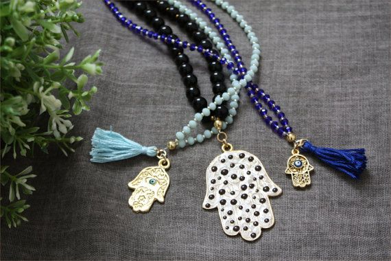 Hamsa tassel necklaces boho chic | ThatsMineBijoux