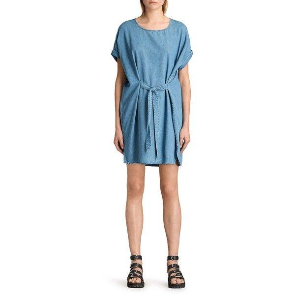 Allsaints Sonny Denim Dress (£147) ❤ liked on Polyvore featuring dresses, mid indigo blue, indigo dress, allsaints dress, blue dress, blue denim dress and indigo blue dress