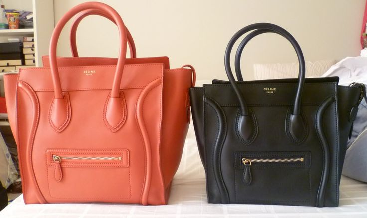 Celine Mini Luggage Tote in Lipstick Red and Celine Micro Luggage ...