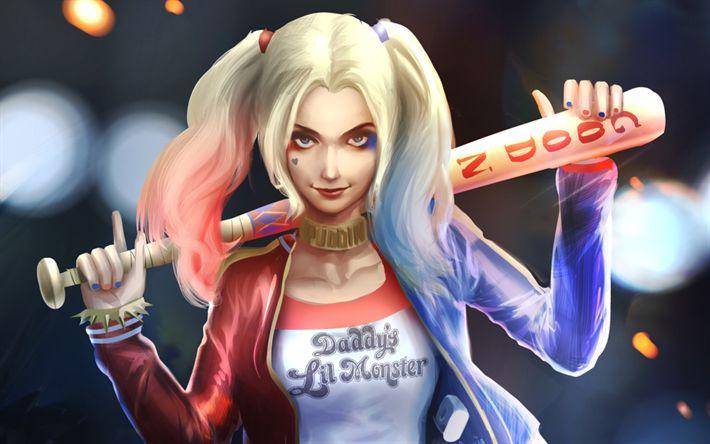 Descargar fondos de pantalla Harley Quinn, el supervillano, el arte, la DC Comics