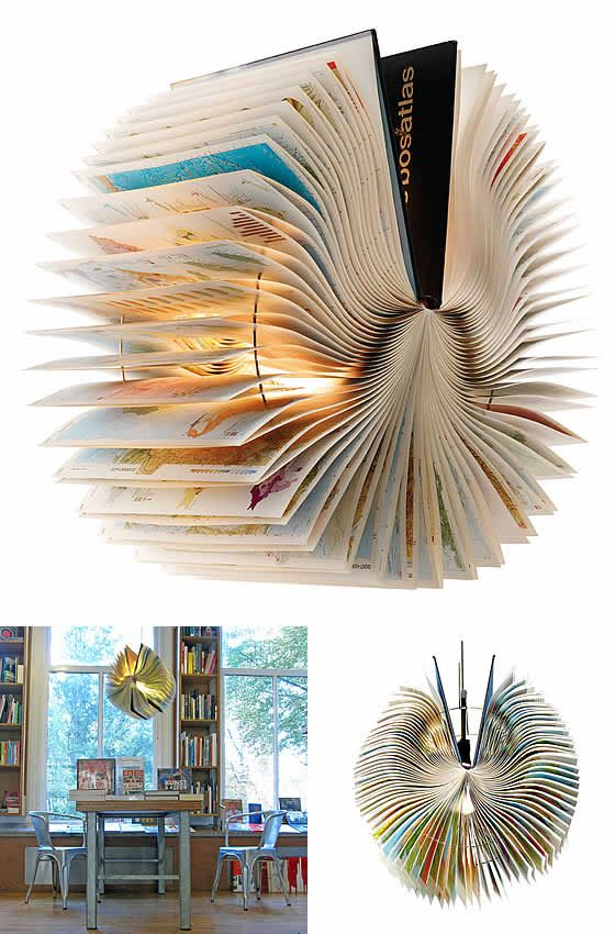 Atlas Book Lamp by Bomdesign   Please subscribe to my weekly newsletter at upcycledzine.com ! #upcycle