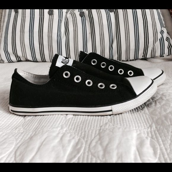 Black Converse slim slip-on   Size 5 Cute black converse, worn once. Converse Shoes Sneakers