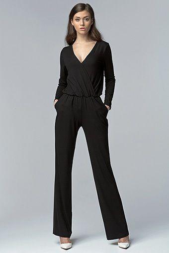 Combinaison noir femme mode chic manche longue neuf sur commande robe de cocktail longue - Combinaison noire chic ...