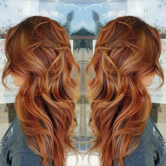 Copper hair, red hair, long hair, fall hair color, beach waves, balayage #vistabellesalon