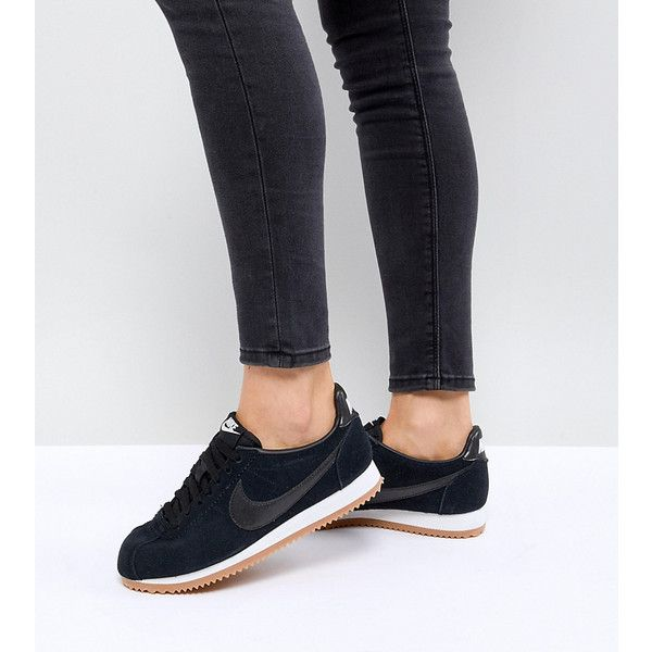 nike shoes black high tops. nike classic cortez sneakers in black suede with gum sole ($91) ❤ liked on shoes high tops