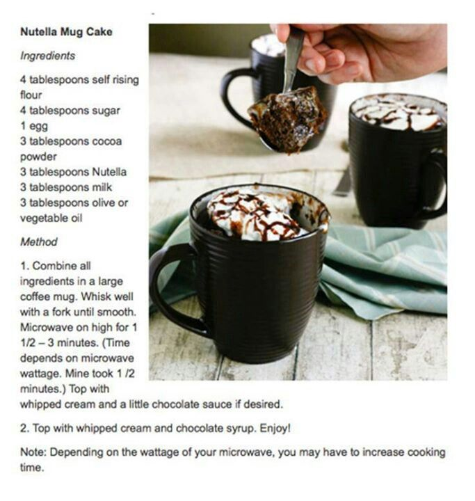 Chocolate Nutella Mug Cake