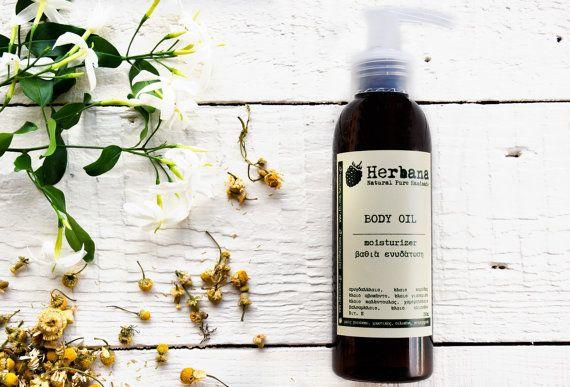 Deep Moisturizing Βody oil, Organic Body Care, Natural Treatment, Against Skin Dryness, Massage Oil, Organic Skin Care by Herbana Cosmetics