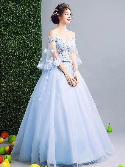 Light Blue Off Shoulder Floral Applique Ball Gown Prom Dress