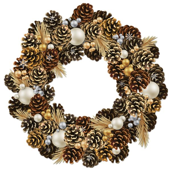 Transparent Christmas Pinecone Wreath With Pearls Clipart