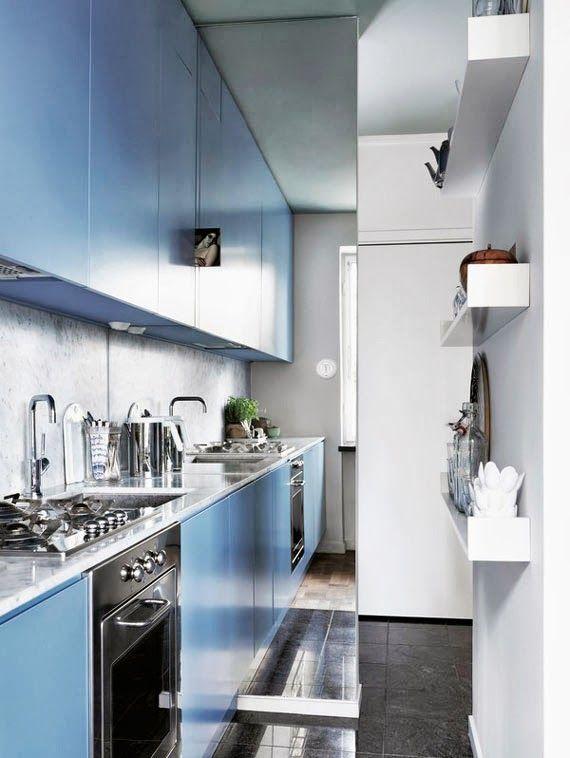 espelho!!! Cozinha-corredor, e um truque para espaço pequeno - dcoracao.com - blog de decoração