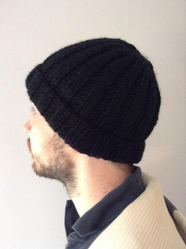 Bonnet Noir en laine Tricoté main côtes 2/2 pour homme Mode tendance : Chapeaux par la-p-tite-mimine