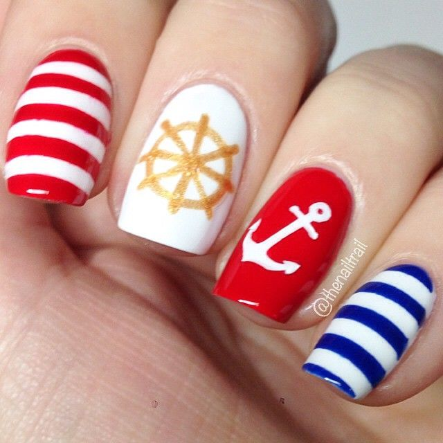 Red Blue and Gold Nautical Nails With Anchor ⚓️