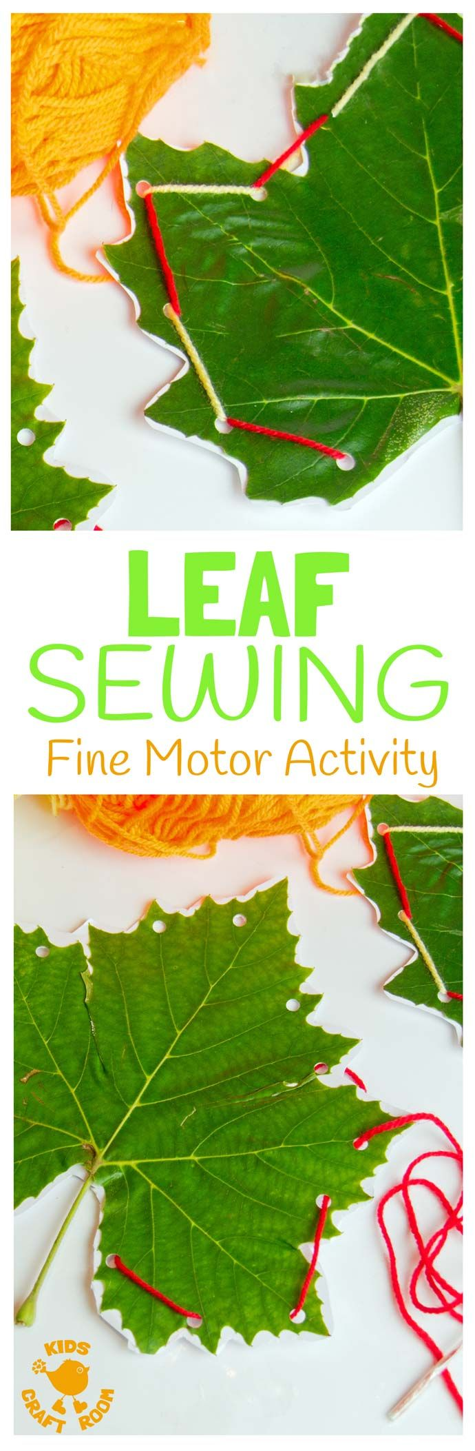 LEAF SEWING - A fun Autumn / Fall craft for kids. This Fall activity builds fine motor skills and connects kids with Nature using real leaves.