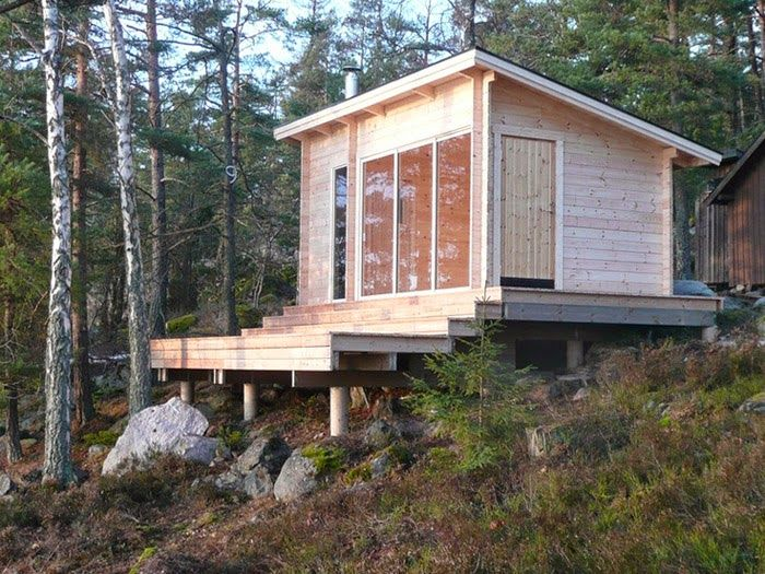 small house idea for sloped lot. Poppytalk: Cabin Fever   Six Weekend Cabins to Dream About