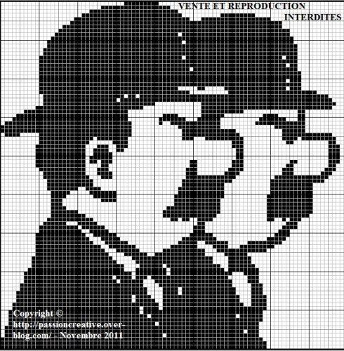 Grille gratuite point de croix : Tintin - Dupond et Dupont