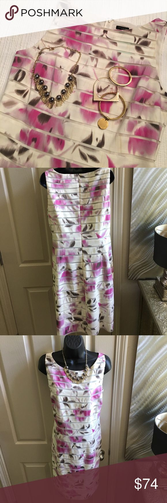 "Beautiful Print- Ann Taylor Wedding??? Romantic Dinner? Netting in between print. Hidden zipper. Waist 18"" bust19 1/2"" s/h 40"" skirt 24"" Ann Taylor Dresses Midi"