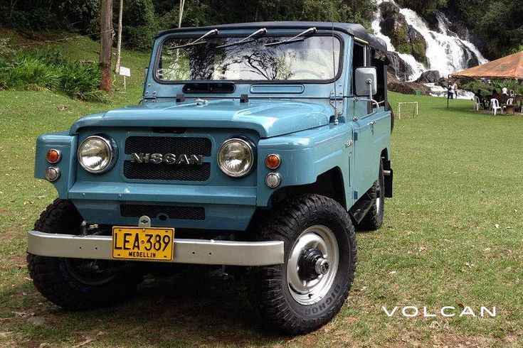 "Indigo and the waterfall. Indigo is our rare-to-the-US, ""Hemmings Pick"" 1979 Nissan Patrol LG-60 from Volcan 4x4."