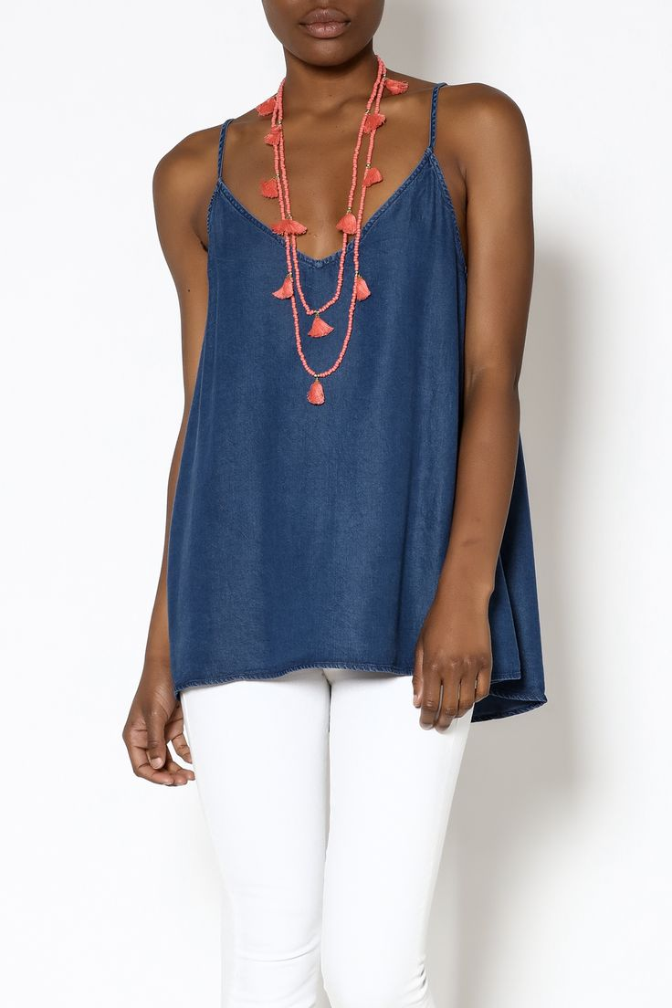 Denim sleeveless swing top with a v-neckline and spaghetti straps that crisscross at the back.   Denim Strappy Top by Mustard Seed. Clothing - Tops Clothing - Tops - Sleeveless Clothing - Tops - Casual Indiana