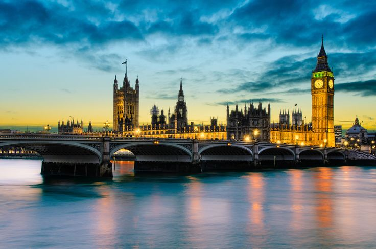 Sunset views of Big Ben and Palace of Westminster, UK