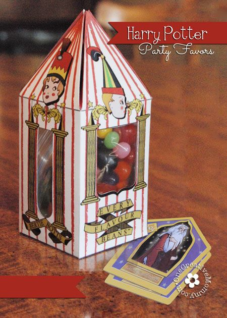 Harry Potter Party Favors from OneCreativeMommy.com {Bertie Botts Every Flavor Beans, Chocolate Frogs and Famous Witch and Wizards Cards!} #harrypotter
