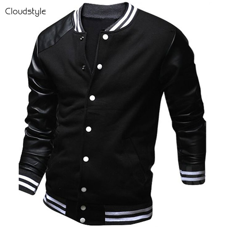Cool College Baseball Jacket Men 2017 Fashion Design Black Pu Leather Sleeve Mens Slim Fit Varsity Jacket Brand Veste Homme