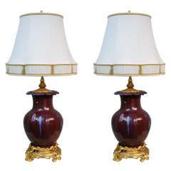 Pair of 19th Century Ox Blood Flambe Chinese Lamps