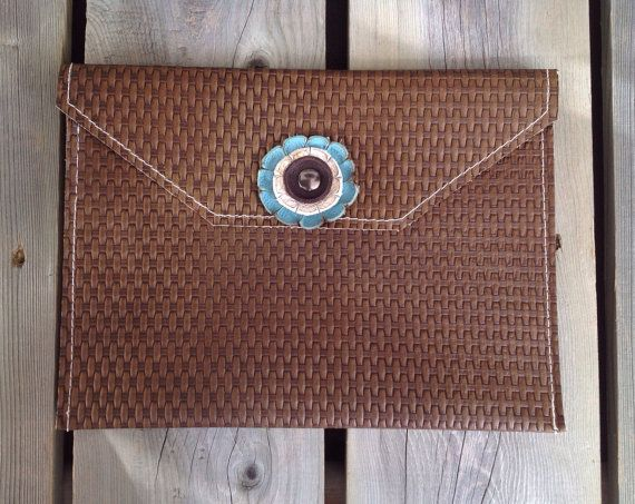 Brown Basket Weave Leather iPad Case with by HeartnSoulHandbags, $80.00