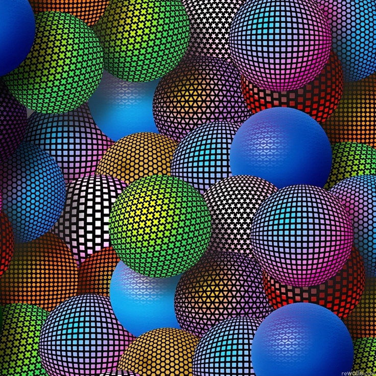 Colorful Illusion Balls iPad Wallpaper HD 1024x1024 iPad