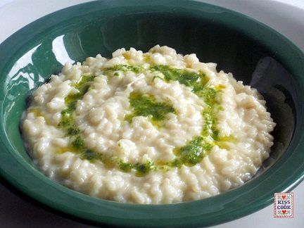 risotto al gorgonzola e pesto di rucola